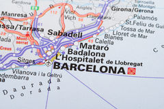 Barcelona on map Royalty Free Stock Photo