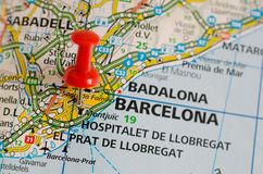 Barcelona on map. Close up shot of Barcelona Spain on a map with red push pin Royalty Free Stock Image
