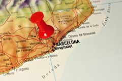 Barcelona on a map Royalty Free Stock Images