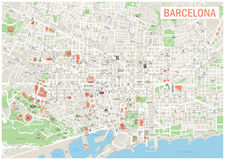 Barcelona Map. Stock Photography