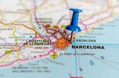 Barcelona on map royalty free stock photos
