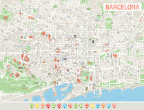 Barcelona Map and Navigation Icons. Highly Detailed Vector Illustrarion of Barcelona Map and Navigation Icons. It includes streets, parks, names of subdistricts Royalty Free Stock Photos