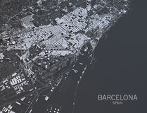 Barcelona map, satellite view, Spain. Satellite view of Barcelona on black background Stock Photography