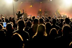 Crowd in a concert at Razzmatazz stage Royalty Free Stock Photos