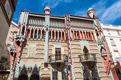 Casa Vicens is a house in Barcelona, designed by Antoni Gaudí. BARCELONA - MARCH 31, 2018: Casa Vicens is a house in Barcelona, designed by Antoni Gaudí stock images