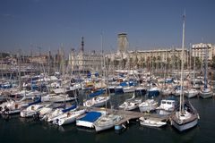 Barcelona Marina. Yacht Harbour in Barcelona, Spain Royalty Free Stock Photos