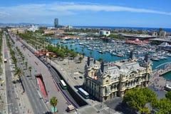 Barcelona marina odgórny widok Zdjęcie Stock
