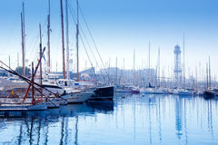 Barcelona marina port with teleferic tower Royalty Free Stock Photos