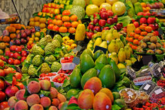 Market fruits and vegetables fruit marketplace stall supermarket food shopping vegetable Barcelona La Boqueria famous place stand. Royalty Free Stock Image