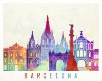Barcelona-Marksteinaquarellplakat vektor abbildung