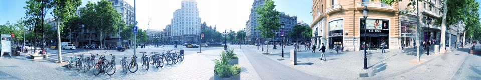 BARCELONA - MAY 11, 2018: Panoramic view of city streets in Eixa Royalty Free Stock Photography
