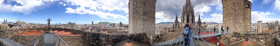 BARCELONA - MAY 14, 2018: Panoramic view of Barcelona from the t Royalty Free Stock Images