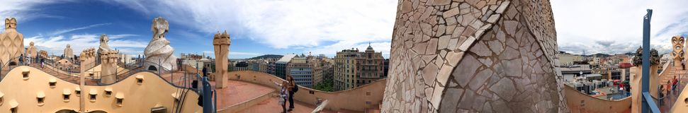 BARCELONA - MAY 14, 2018: Tourists enjoy city view from rooftop. Royalty Free Stock Image