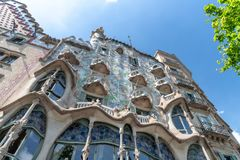 BARCELONA - MAY 11, 2018: Classic city architecture on a beautiful spring day. The city attracts 10 million tourists annually.  royalty free stock photography