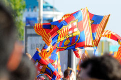 BARCELONA - MAY 13: Flags of Futbol Club Barcelona team in the celebration of the Spanish League victory on May 13, 2013. Royalty Free Stock Images