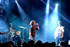 Iceage punk rock band in concert at Apolo stage Primavera Sound 2015. BARCELONA - MAY 25: Iceage punk rock band in concert at Apolo stage Primavera Sound 2015 Royalty Free Stock Image