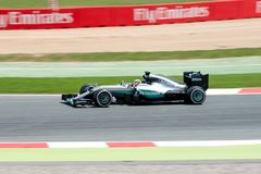 Lewis Hamilton drives the Mercedes AMG Petronas F1 Team car on track for the Spanish Formula One Grand Prix at Circuit de Cataluny. BARCELONA - MAY 13: Lewis Royalty Free Stock Image