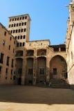 Barcelona: medieval Palau Reial at Placa del Rei Stock Photos