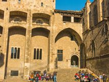 Barcelona: medieval Palau Reial Royal Palace in catalan at Pla Royalty Free Stock Images