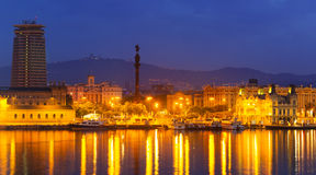 Barcelona and Mediterranean in night.  Spain Royalty Free Stock Photos