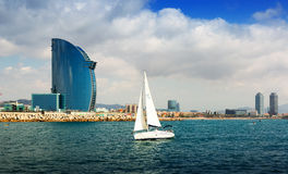 Barcelona from Mediterranean sea Stock Photography