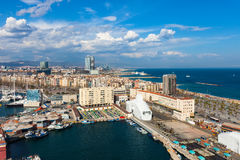 Barcelona and Mediterranean Sea in sunny day Stock Image
