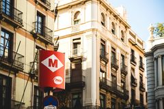 Barcelona Metro sign entrance TMB public transportation. BARCELONA, SPAIN - NOV 12, 2017: Barcelona Metro sign entrance TMB public transportation with Stock Photos