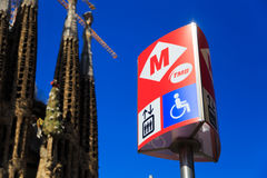 Barcelona metro sign. Metro sign in Barcelona with the famous Sagrada Familia  in the background Stock Images
