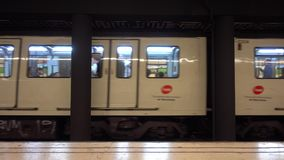 Barcelona metro train departs from platform - Barcelona Underground station. Barcelona / Spain stock video