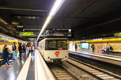 Barcelona metro. Train entering underground station Stock Image