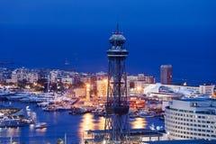 Barcelona miasta linia horyzontu Przy nocą Fotografia Royalty Free