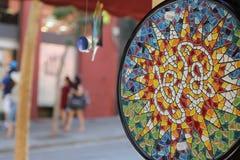 Barcelona miasta sightseeings, Hiszpania drewna na boku dostępny robić kurortu seashells najwięcej ostryg robić zakupy pamiątkars Zdjęcia Royalty Free