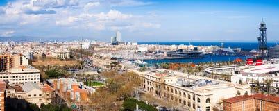 Barcelona miasto z Portowym Vell od Montjuic Obraz Stock