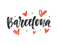 Barcelona. Modern city hand written brush lettering. Isolated on white background. Ink calligraphy. Tee shirt print, typography card, poster design. Vector Stock Photos