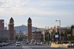 Barcelona Montjuic Arkivfoton