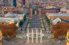 Barcelona Montjuic arkivbilder