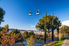Barcelona Montjuic kabelbil Royaltyfri Bild