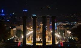 Barcelona Montjuic magic fountains. Magic fountains in Barcelona Montjuic Stock Images