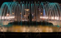 Barcelona Montjuic magic fountains. Magic fountains in Barcelona Montjuic Royalty Free Stock Photo