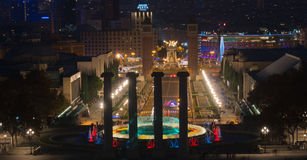 Barcelona Montjuic magic fountains. View of Barcelona from Montjuic Stock Photography