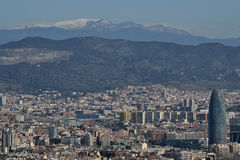 Barcelona from Montjuic. Sight of the city of Barcelona from Montjuic Stock Photo