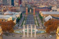 Barcelona Montjuic. View of Barcelona from Montjuic stock images