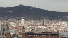 View of Barcelona. Barcelona monumental view, mountain of Tibidabo renovated bullring beautiful view stock video footage