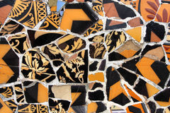 Barcelona mosaic. Artistic mosaic in Antoni Gaudi's Park Guell - Barcelona detail. Background texture of trencadis Stock Photography