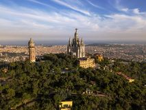 Barcelona from Mount Tibidabo and the Temple of the Sacred Heart stock photo