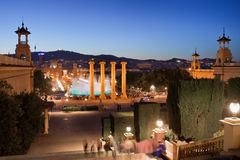 Barcelona na noite Foto de Stock