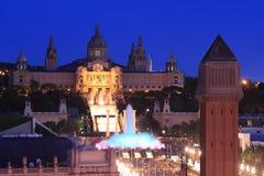 barcelona natt Arkivfoto