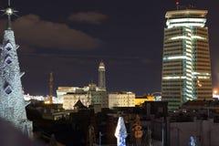 barcelona natt royaltyfria foton