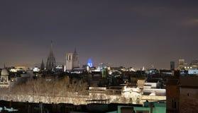 barcelona natt fotografering för bildbyråer