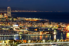 Barcelona by night. The Coast side of Barcelona by night stock photography